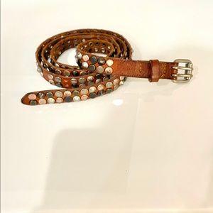 Diesel skinny leather studded belt 90 cm